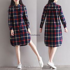 Vintage Women Plaids Loose Blouse Button Down Long Shirt Tunic Long Sleeve Dress