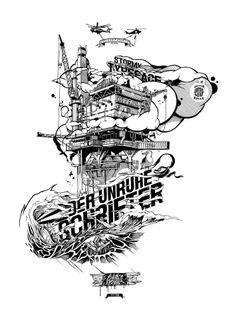 º DER UNRUHESCHRIFTER º    Illustration by Thomas Dirolf, 2013    pxlzucht.