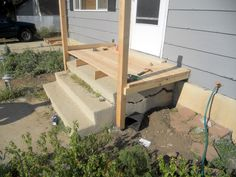 Mommy How To's: Building a Porch Deck Over Concrete, Concrete Front Porch, Front Porch Steps, Small Front Porches, Front Porch Design, Concrete Stairs, Decks And Porches, Front Deck, Small Patio