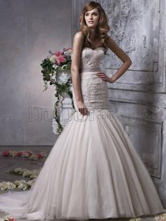 Ball Gown Lace Sweetheart Strapless Sweep Church Wedding Dresses With Sash And Bowknot, Wedding Dress, wedding gowns, bridal dresses   www.duduta.com