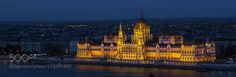 Danube Night - The Hungarian Parliament lit up at night on the banks of the Danube Budapest Hungary May 2017.
