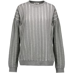 T by Alexander Wang Devoré cotton sweatshirt (£100) ❤ liked on Polyvore featuring tops, hoodies, sweatshirts, grey, loose cotton tops, loose tops, loose fitting tops, grey sweatshirt and gray top