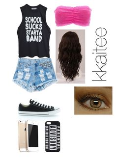 """""""School sucks start a band"""" by dontbeabish ❤ liked on Polyvore featuring WigYouUp, Charlotte Russe, Converse, FingerPrint Jewellry and UNIF"""