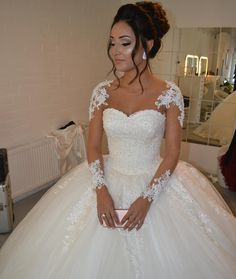 Wedding Dresses, Wedding Gown,sheer long sleeves white ball