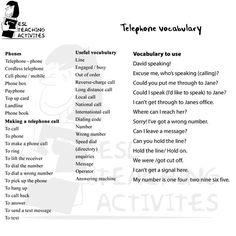 Telephone vocabulary
