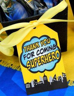 Cute idea for a favor bag hang tag at a Batman birthday party