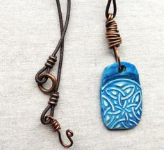 Celtic Necklace, Long Necklace, Art Jewelry, Leather Cord, Artisan Made, Hand Painted, Boho, Organic Jewelry, Blue necklace, Art - pinned by pin4etsy.com