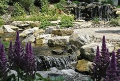 fun beautiful and safe for kids think pondless waterfall and stream, flowers, gardening, landscape, outdoor living, perennial, ponds water features, Water spills over rocks and it makes it s journey to the pondless reservoir www deckandpatio com