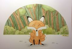 #Kitsune #watercolor #cartoon