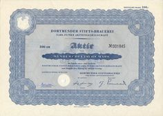 Dortmunder Stifts-Brauerei Carl Funke Aktie 100 DM 1953