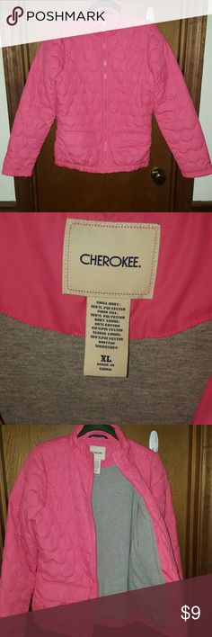 Pink lightweight coat by Cherokee EUC no stains no rips great deal we live at ga fl line and my daughter outgrew this before she ever needed to wear it #1045 Cherokee Jackets & Coats