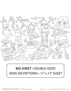 TUESDAY BASSEN In My Room - Embroidery Patterns BIG SHEET