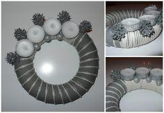Adventní věnec malý Polystyrenový korpus a o průměru 19 cm. Použitý materiál: textilie, motouz, vánoční dekorace.