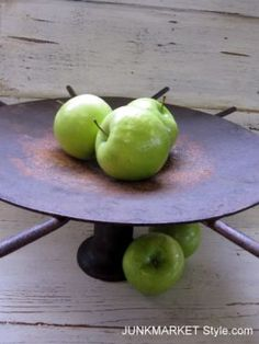 Fruit bowl from old farm equipment pieces. I think I could find the pieces I need for this! Fruit bowl from old farm equipment pieces. I think I could find the pieces I need for this! Fresh Apples, Fresh Fruit, Kitchen Crashers, Farm Projects, Diy Projects, Farm Art, Old Farm Equipment, Planter Boxes, Vintage Industrial