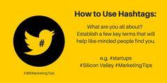 Hashtag use no. 2 – get discovered for a key term #socialmediatips #digitalmarketing #365MarketingTips