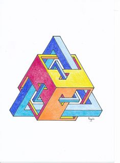 Penrose Triangle, Graph Paper Art, Geometric Art, Geometric Patterns, Math Art, Fuzz, Geometry, Celtic, Rainbow