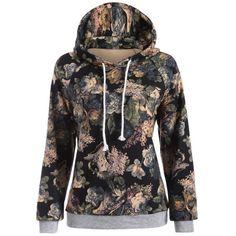 Raglan Sleeve Floral Print Hoodie, GRAY, XL in Sweatshirts & Hoodies | DressLily.com