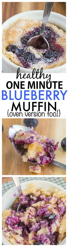Healthy 1 Minute Blueberry Muffin- Inspired by Starbucks, you only need one minute to whip this healthy, moist, fluffy and delicious mug muffin- There is an oven version too! {vegan, gluten-free, paleo options}