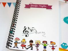 Personalized Fun Notebooks. Musical Notes treble clef by TIPgifts