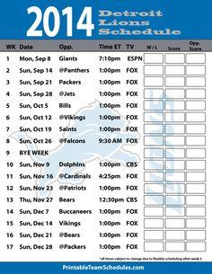 2014 Detroit Lions Schedule