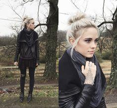 Mary Ellen Skye - Modern Vice Jett Boots, Madewell Jeans, Free People Tank, Doma Leather Jacket - Change   LOOKBOOK