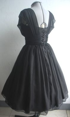 A black chiffon 50s cocktail dress  custom by elegance50s on Etsy, $265.00