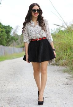 Reach for the stars  , BEGINNING BOUTIQUE Blouses, Skirt, Furor Sunglasses, Steve Madden Heels