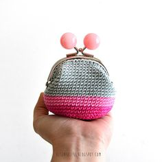 Pink bubbles - crochet coin purse
