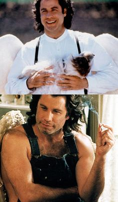 John Travolta - Nora Ephron's Movies: Michael, 1996    Ephron wrote the screenplay for this gem, featuring John Travolta in large wings and overalls sans shirt. Uh huh.