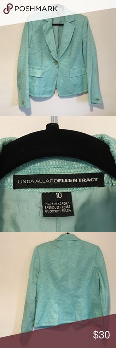 """Turquoise one button blazer One button linen-cotton weave fabric, notch collar, front flap pockets, fully lined, long sleeves 24 inches from shoulder, 24"""" length.  Very feminine and flattering fit.  Great with jeans or dress pants to add some soft color to your wardrobe.  Dry clean only. Ellen Tracy Jackets & Coats Blazers"""