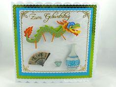 Geburtstagskarte mit Drachenmotiv