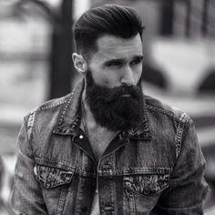 Luke Ditella - full thick black beard and mustache beards bearded man men mens' style fashion denim jean jacket hair hairstyle hairy handsome #beardsforever