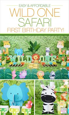 """Check out these adorable Safari First Birthday Party Ideas featuring a """"Wild ONE"""" Dessert Table, Banana Smash Cake recipe and Banana Crunch Cupcake recipe."""