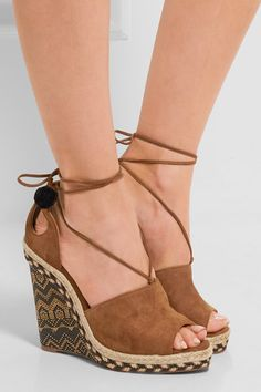 0db76243f Aquazzura - Palm Springs cutout suede espadrille wedge sandals