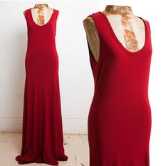 Red Stretch Gown Dress by ARMANI Jeans 1990s 90s by SicklyVintage, $165.00