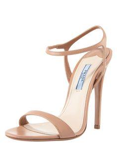 Thin-Strap Leather Sandal by Prada