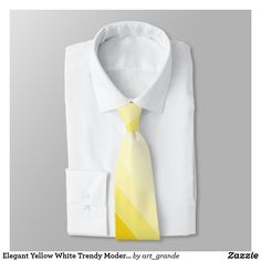 Shop Elegant Yellow White Trendy Modern Design Template Neck Tie created by art_grande. Green Tie, Custom Ties, Unique Image, Color Trends, Night Out, Modern Design, Neckties, Stripes, Plaid