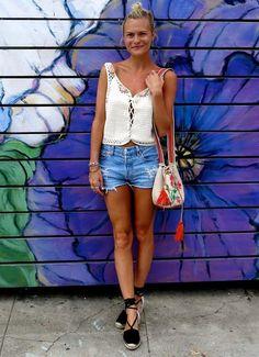 pandora sykes short blusa branca renda