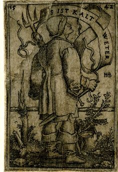 1542 - 1600 after Sebald Beham - Deceptive copy after Beham (Pauli 189); a peasant seen from behind, turned to right, carrying a rake over his left shoulder. Engraving