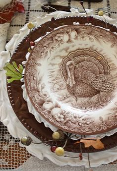 "O ne of the most frequently asked questions I hear from readers concerning tablescapes is, "" Is it okay to stack more dishes on a table t. Vintage Thanksgiving, Thanksgiving Tablescapes, Thanksgiving Turkey, Thanksgiving Decorations, Thanksgiving Plates, Happy Thanksgiving, Fall Decorations, Vintage Fall, Holiday Tables"