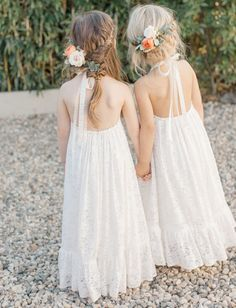 This Wedding at The Surf Lodge is Filled with Tropical Boho Charm - Green Wedding Shoes - flower girls dresses and hair adornments for a boho beachside wedding in montauk - Beach Flower Girls, Flower Girl Dresses Country, Boho Flower Girl, Wedding Flower Girl Dresses, Beach Wedding Flowers, Bridesmaid Flowers, Little Girl Dresses, Girls Dresses, Flower Girl Outfits