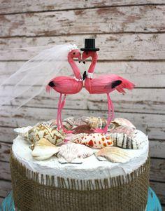 beach wedding cake topper-Tropical destination-wedding cake topper-Flamingo-Flamingo wedding cake topper- So cute.
