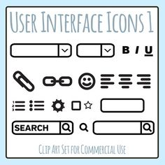 User Interface Icons clipart set - 22 pieces of black and white / line art / blackline master clip art in a pack or bundle for your worksheets or educational resources.  All images or pictures are high resolution so you can have large illustrations of them and they'll still be clean and beautiful.Images are in PNG format with a transparent background (there aren't white areas) so they can be dropped into your documents easily, and layered with text or other images.