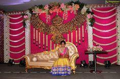 Dasari Narayana rao's grand daughter half saree function Home Wedding Decorations, Engagement Decorations, Stage Decorations, Flower Decorations, Wedding Mandap, Wedding Stage, Wedding Events, Weddings, Half Saree Function