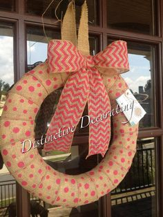 pink polka dot burlap ribbon wreath with chevron bow - also great for new baby hospital door or announcement on door when bringing baby home!!