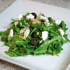 Fennel-Arugula Salad omit the olives, add watermelon radishes.  Use Parmesan shavings instead of goat cheese if you like