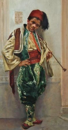 'Arab Pipe Smoker' by François Brunery (1845 - 1926).  Egypt, late 19th century.  The man is wearing a Turkish Balkan-style outfit.