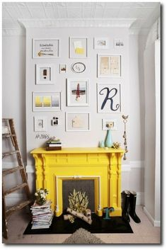 LOVE the fake fire and logs on the floor! photo of Rega NY, images by Jamie Hankin