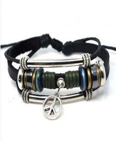 Leather & Hemp Peace Sign Bracelet Pack