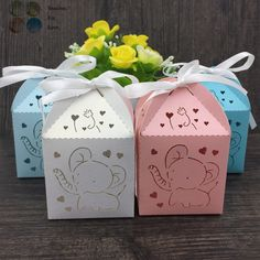10pcs souvenirs baby shower birthday party decor party supplies decoration candy chocolate box gifts for guests cartoon elephant(China (Mainland))